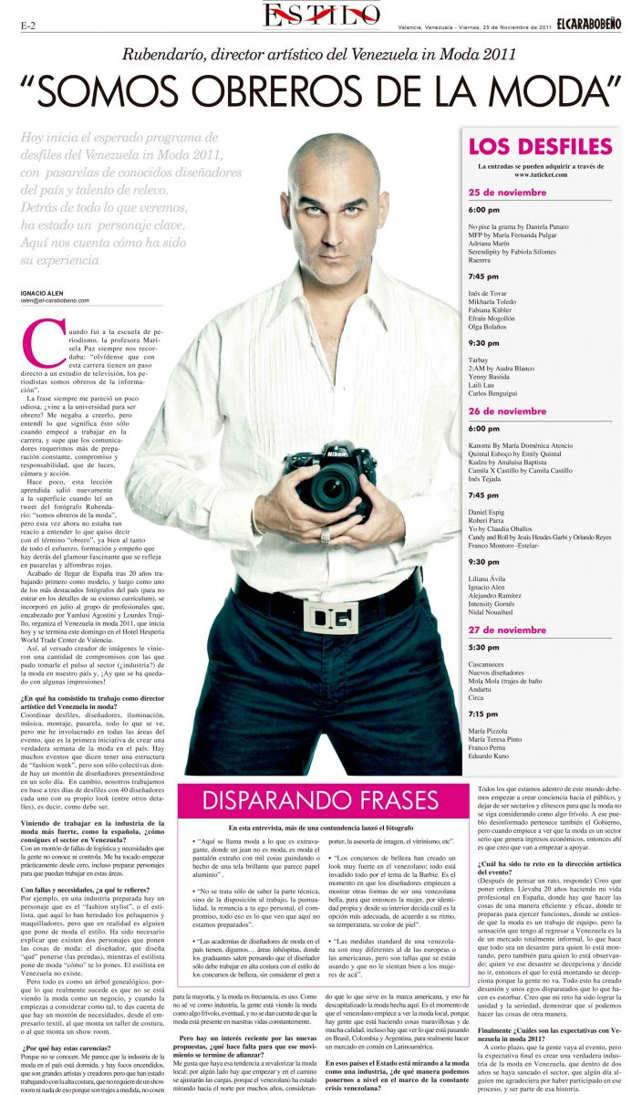 EL CARABOBEÑO entrevista Rubendario